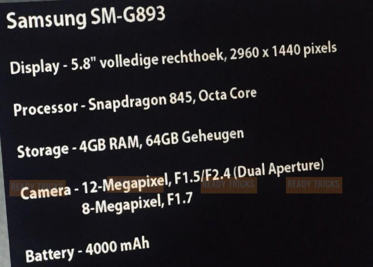 Samsung Galaxy S9 aktiv mit 4.000 mAh Akku, laut angegebenem Datenblatt
