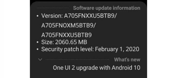 Samsung Galaxy A70 erhält Android 10-Update mit One UI 2.0