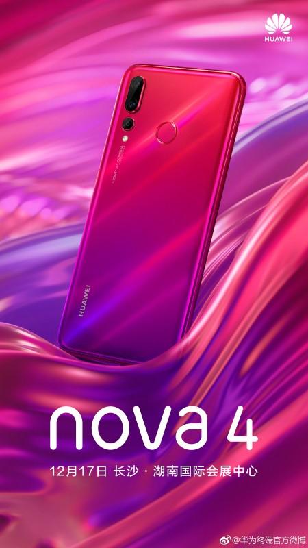 Huawei zeigt die rote und violette nova 4, die am 17. Dezember angekündigt wird