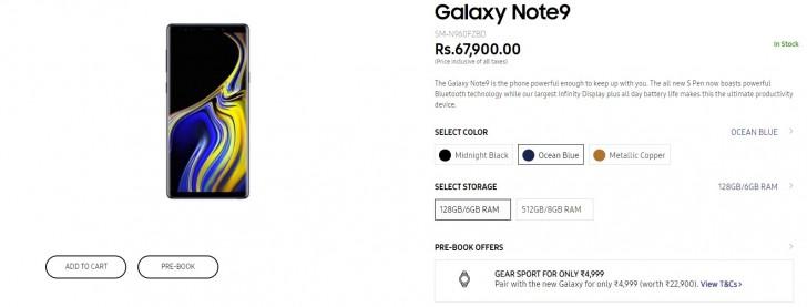 Samsung Galaxy Note9 ist in Indien vorbestellbar